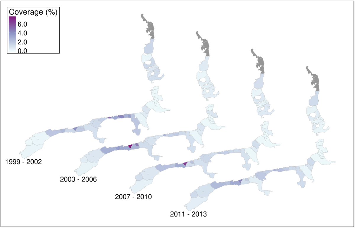 Average coverage per tidal basin for the periods 1999-2002, 2003-2006, 2007-2010 and 2011-2013. Coverage is the percentage of intertidal flat that is covered by blue mussel beds, Pacific oyster reefs or mixed beds.