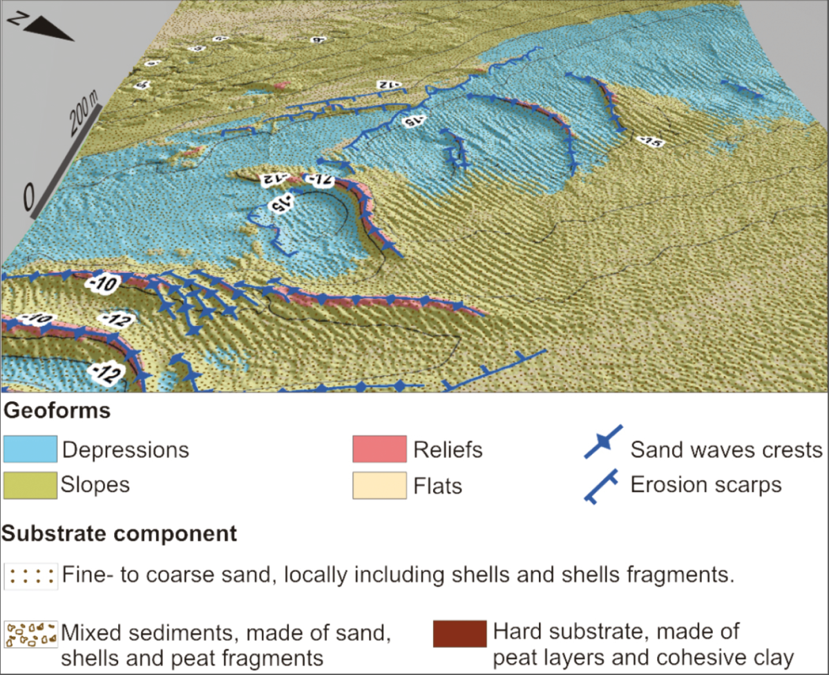 Map of geoforms and substrate nature of an inlet in the West Frisian Wadden Sea